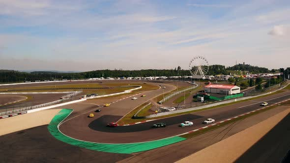 Drone Flies Above Sports Car Racing The Norisring 200 Miles