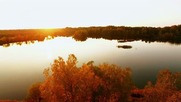 Cover Image for Aerial View Abowe Autumn Forest With River At Sunset 2