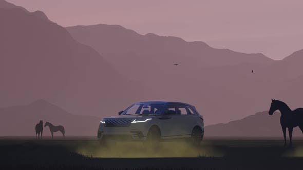 Thumbnail for Black Luxury Off-Road Vehicle from Horses in a Foggy Mountain Area