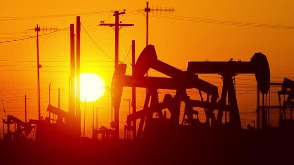 Oil Wells At Sunrise