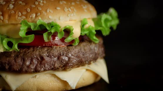 Delicious Burger with Herbs and Beef Rotates