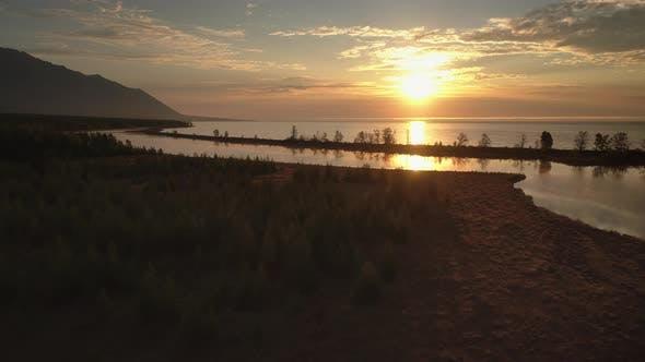 Thumbnail for Aerial Footage Above Big Lake at Morning