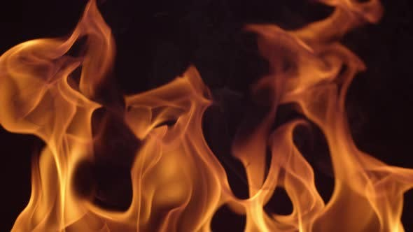 Thumbnail for Closeup of fire burning on black background in slow motion; shot on Phantom Flex 4K at 1000 fps