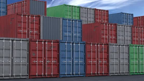Thumbnail for Stacks of Cargo Shipping Containers Seamless Loop