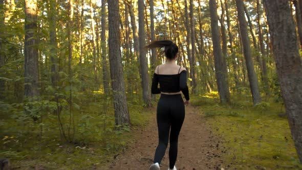 Young Woman Jogging in the Evening in the Pine Forest