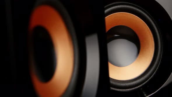 Cover Image for Speaker Cone Pumping To the Sound of the Bass, Closeup