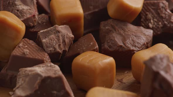 Chunks of chocolate with caramel candy