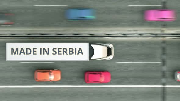 Trailer Trucks with MADE IN SERBIA Text