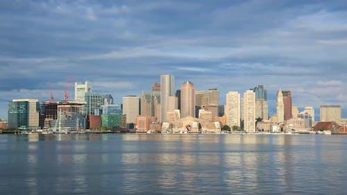Timelapse of Boston Skyline in Massachusetts - Usa