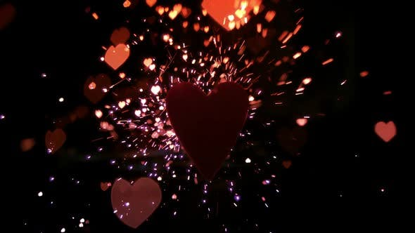 Thumbnail for Sparks and confetti flying against heart