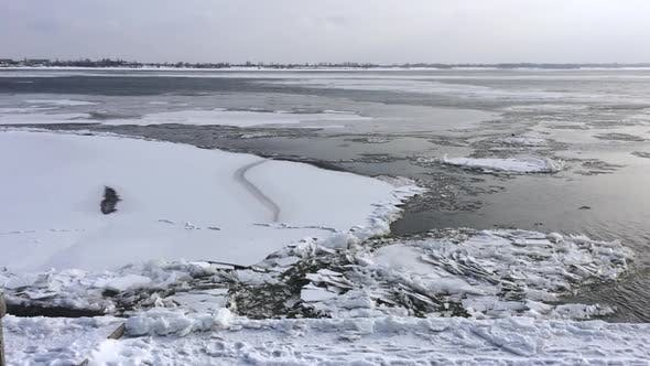 Ice floes floating on the river