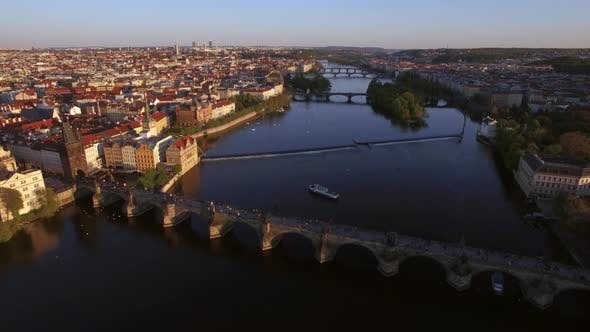 Cover Image for Prague Aerial View with Charles Bridge, Czech Republic