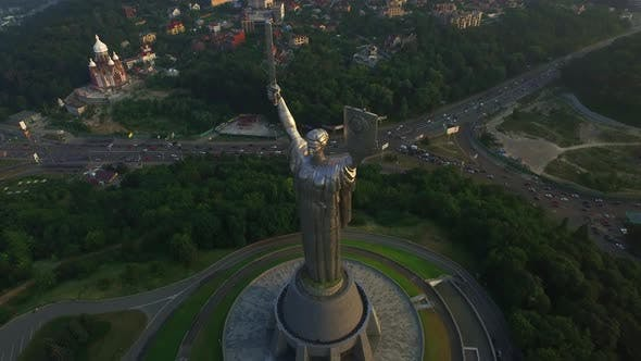 Thumbnail for Top View Mother Motherland in Memorial Park Victory Day in Kiev City, Ukraine