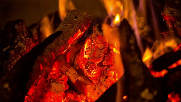 Thumbnail for The Firewood Burning in the Fireplace 2