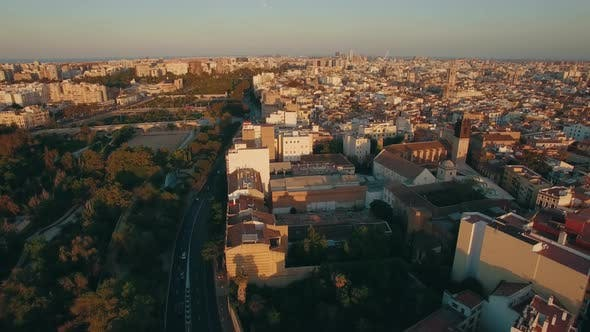 Thumbnail for Aerial Valencia View at Sunset Spain