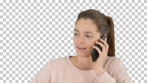 Thumbnail for Beautiful woman talking on mobile phone Alpha Channel
