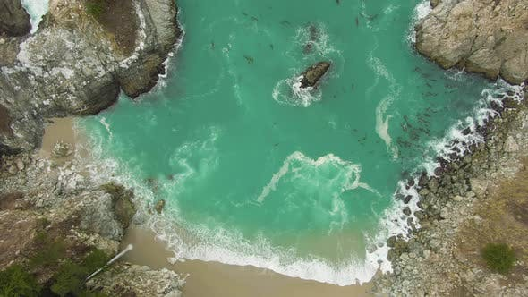 McWay Beach and McWay Falls. Big Sur, California, USA. Aerial Top-Down View
