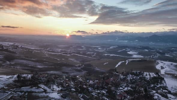 Thumbnail for Aerial Sunset over Low Land Country