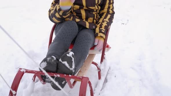 Girl Ride on Sledge