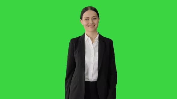 Confident Businesswoman Walking Towards Looking Camera Smile Green Screen Chroma Key