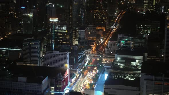 Night Business District of A Metropolis with Skyscrapers