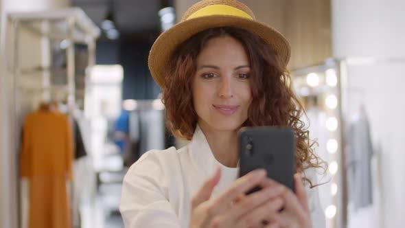 Thumbnail for Woman Making Selfie during Shopping