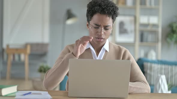 Thumbnail for Young African Girl Using Laptop And Having Headache