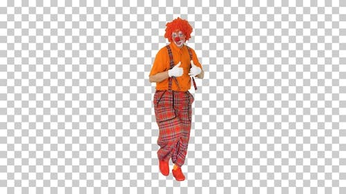 Colorful funny clown walking and dancing, Alpha Channel