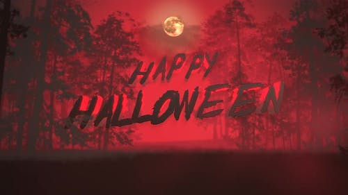 Animation text Happy Halloween and mystical background with dark forest and fog