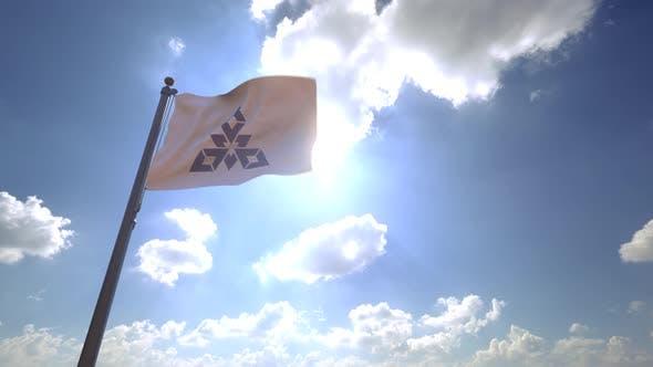 Fukuoka City Flag (Japan) on a Flagpole V4 - 4K