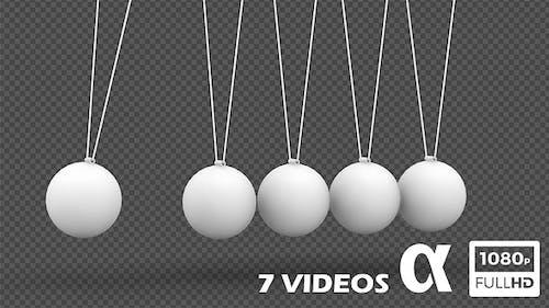 Newton Pendulum White Style Ver.2 - 7 Pack