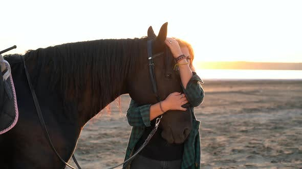 Blonde Woman Stroking Hugging Horse. Lady with Black Stallion Enjoying Sunset