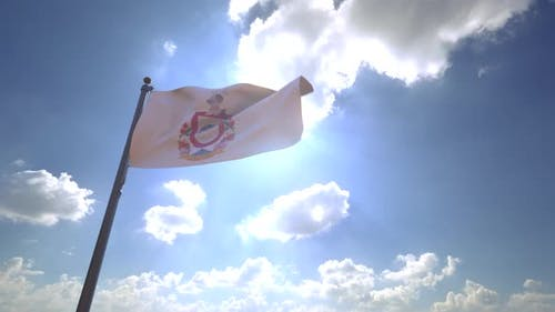 Colima Flag on a Flagpole V4 - 4K