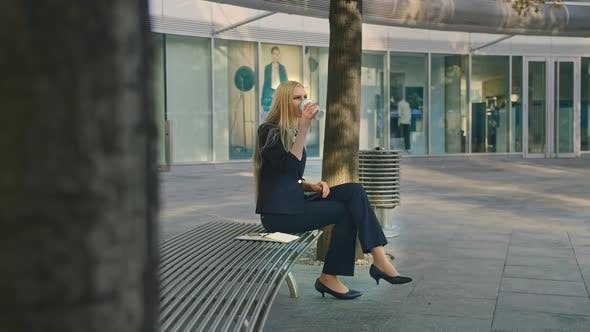 Thumbnail for Business Woman Speaking on Phone and Waving with Hand. Elegant Modern Young Lady Sitting on Bench