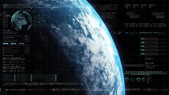 Futuristic Holographic Earth Head Up Display 02