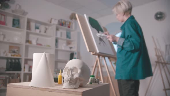 Thumbnail for A Young Woman Artist in the Art Studio - a Skull and Other Figures on the Table