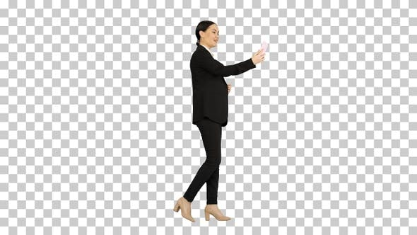Thumbnail for Young female in a suit having business, Alpha Channel