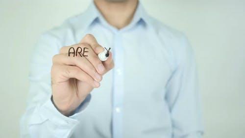 Sind Sie offen für Veränderungen? , Schreiben auf transparentem Bildschirm