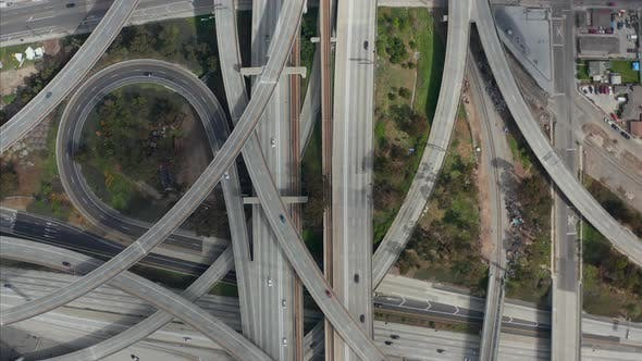 AERIAL: Spectacular Overhead Follow Shot of Judge Pregerson Highway Showing Multiple Roads, Bridges