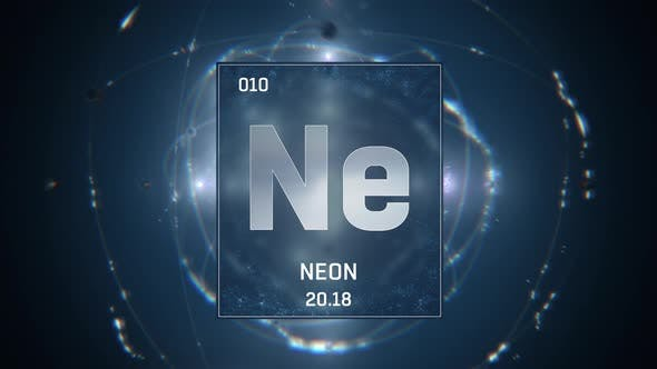 Neon as Element 10 of the Periodic Table 3D animation on blue background