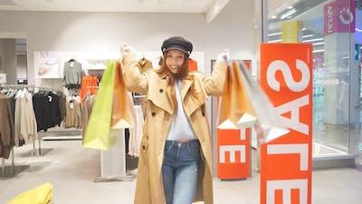 Happy Female Shopper Go Shopping
