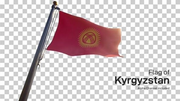Kyrgyzstan Flag on a Flagpole with Alpha-Channel