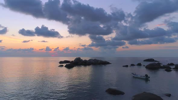 Cover Image for Aerial View at Sunset in Sai Nuan Beach Koh Tao Thailand