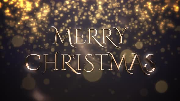 Thumbnail for Animated closeup Merry Christmas text, gold particles on blue background