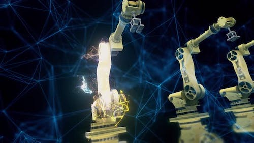 Industrial Robot Arms In A Futuristic Factory 4k