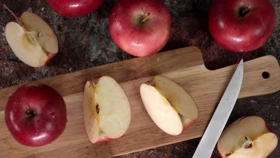 Sliced Fresh Apple on a Cutting Board