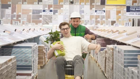 Comic Customer and Salesman Enjoy Time in Store.