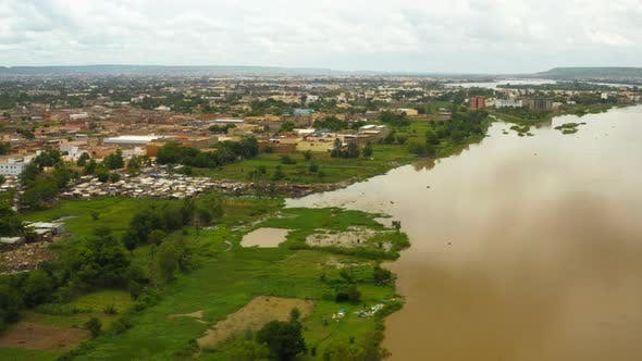 Cover Image for Africa Mali City And River Aerial View
