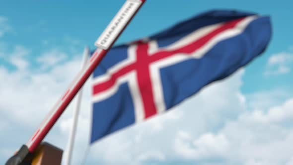 Closed Boom Gate with QUARANTINE Sign on the Icelandic Flag