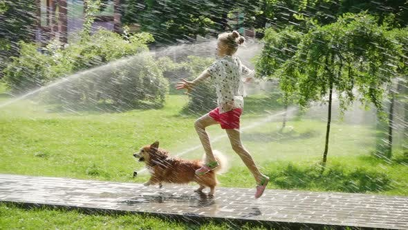 Thumbnail for Child Girl Playing With The Dog At The Park 2